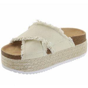 *New Arrival* Cream Flatform Espadrille Sandal